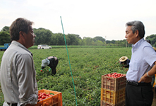 President Terada interacting with farmers