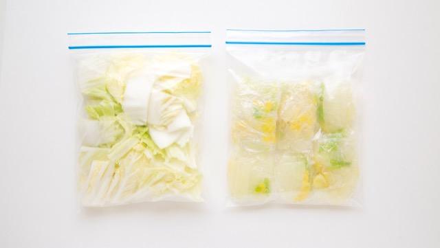カットした白菜は冷凍保存を