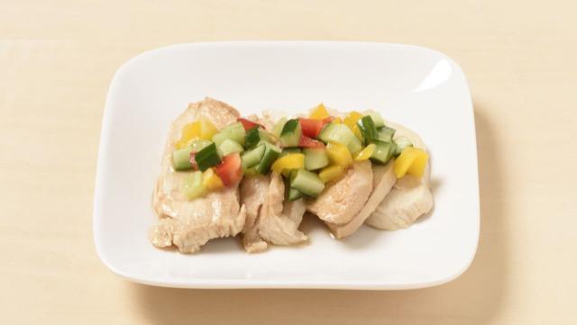 パプリカと茹で鶏のマリネ風