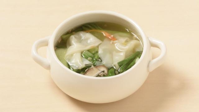チンゲン菜とひき肉のクイックワンタンスープのレシピ