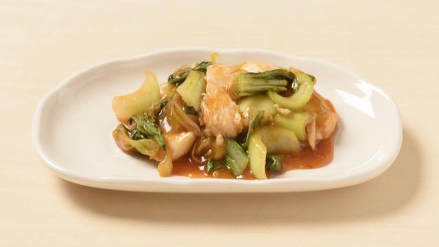 チンゲン菜と鶏肉のトマトケチャップ炒めのレシピ