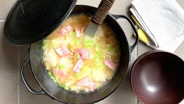 大根とベーコンの具だくさん味噌汁!簡単ランチ&リメイクレシピ