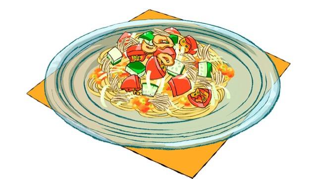 夏野菜とツナ缶の冷製パスタのレシピ