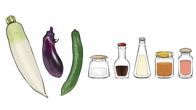 漬け物は、農産物を調味料に漬け込んだもの